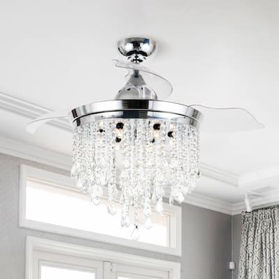 Silver Orchid Shearer Chrome 42-inch Crystal Ceiling Fan Chandelier