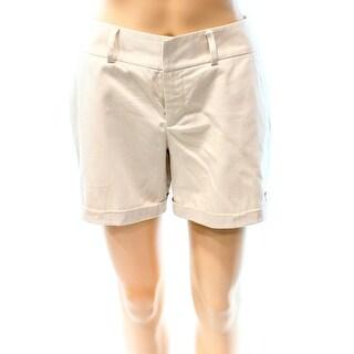 INC NEW Beige Women's Size 6 Cuffed Hem Front Tab Casual Shorts