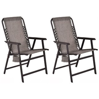 Costway Set Of Two Folding Outdoor Arm Chair Steel Frame W/ Cup Holder Gray