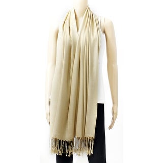 Classic Silk Blend Pashmina Large Scarf Shawl with Fringe Tassels (Option: Off-White)