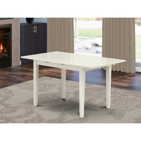 East West Furniture Rectangular Small Table Linen White/Black Table Top Surface and Solid Wood Small Table Legs - 54