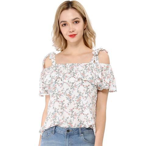 Unique Bargains Women's Strap Cold Shoulder Summer Floral Blouse Tops - White