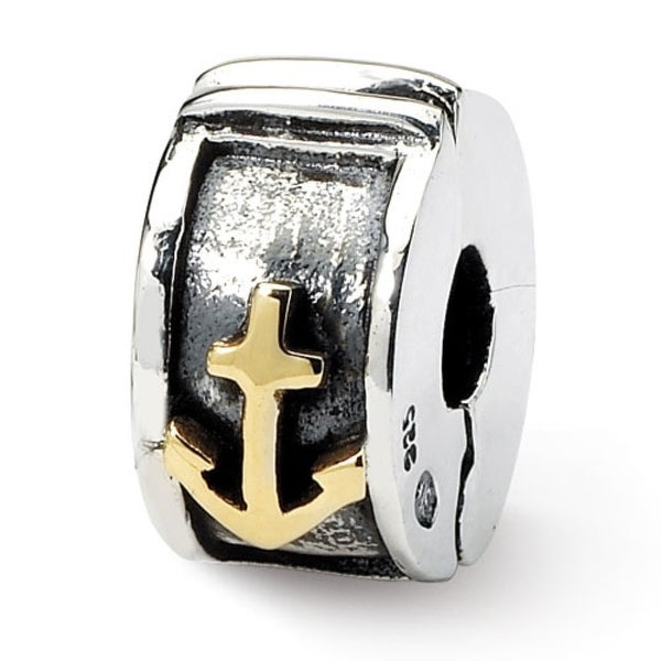 Sterling Silver & 14k Gold Reflections Hinged Anchor Clip Bead (4mm Diameter Hole)