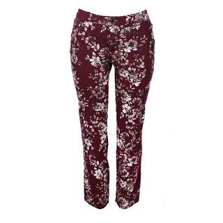 Charter Club Petite Claret Red Floral Print Lexington Tummy-Control Jeans P
