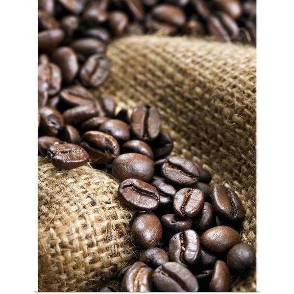 """Coffee beans on burlap sack"" Poster Print"