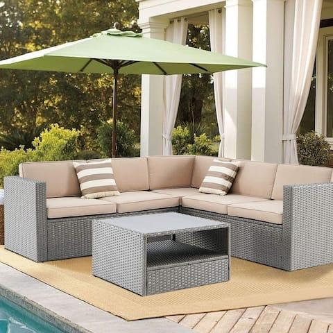 Solaura Outdoor 4-piece Patio Rattan Sectional Sofa Set ,Grey