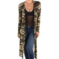 Funfash Plus Size Women Camo Green Mesh Kimono Cardigan Made in USA