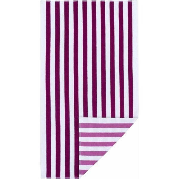 Mainstays Reversible Cabana Beach Towels Super Soft Cotton Machine Washable - Lolita/Tropical Pink