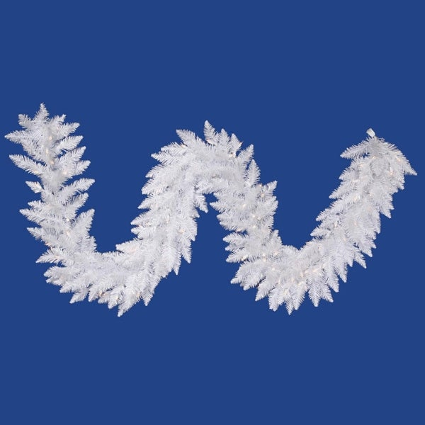 "9' x 14"" Pre-Lit Sparkle White Spruce Artificial Christmas Garland -Clear Lights"