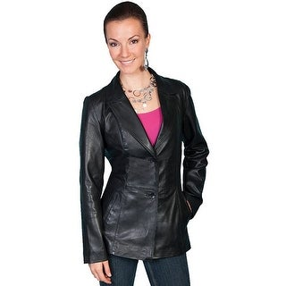 Scully Western Jacket Womens Fitted Leather Button Black