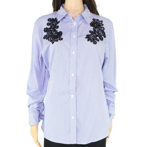 Lauren by Ralph Lauren Women's Blouse Blue Size Medium M Button-Up