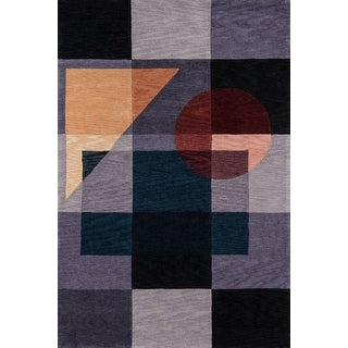 Momeni New Wave Blue Hand-Tufted and Hand-Carved Wool Rug - 2' x 3'
