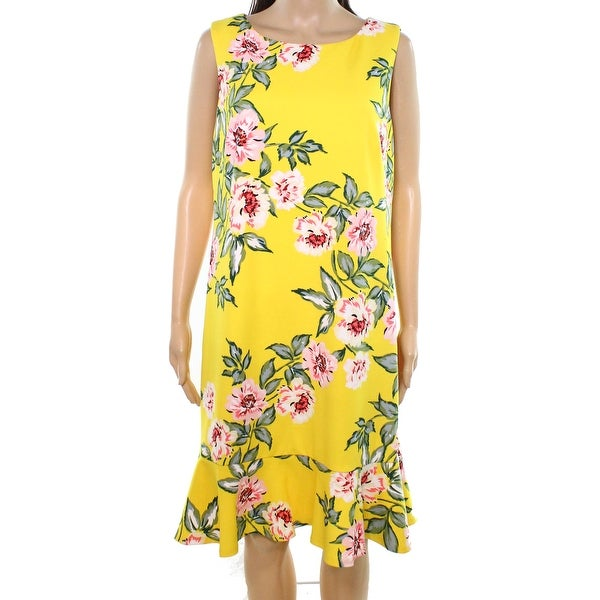 e18daf393133a Shop Jessica Howard Yellow Womens Size 16 Floral Printed Shift Dress - Free  Shipping On Orders Over  45 - Overstock.com - 27382658