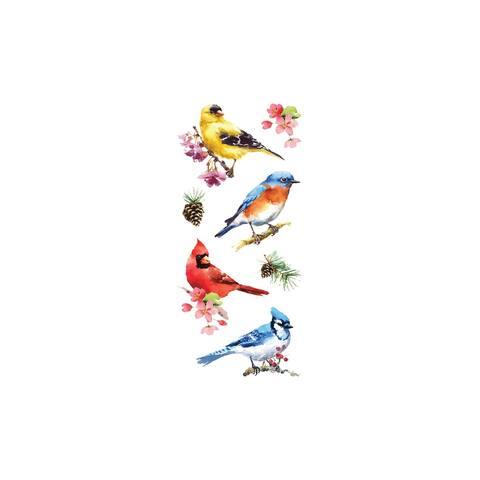 St-2302e paper house sticker watercolor birds