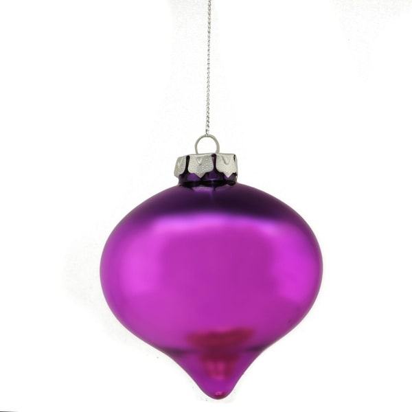 "4"" Regal Peacock Purple and Fuchsia Glass Onion Decorative Christmas Ornament - PInk"