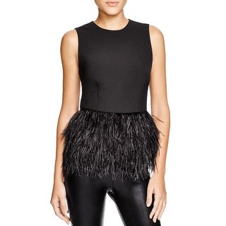 Lucy Paris Womens Casual Top Feather Trim Sleeveless