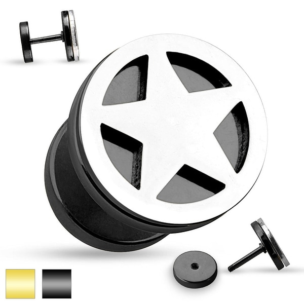 Star Cut Out Two Tone Fake Plug 316L Surgical Steel (Sold Ind.)