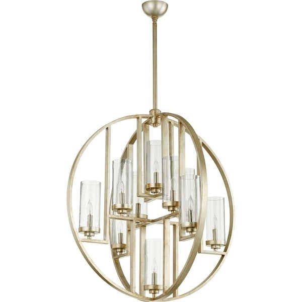 "Quorum International 603-10 Julian 10 Light 32"" Wide Globe Style Single Tier Chandelier with Mercury Glass Shades"