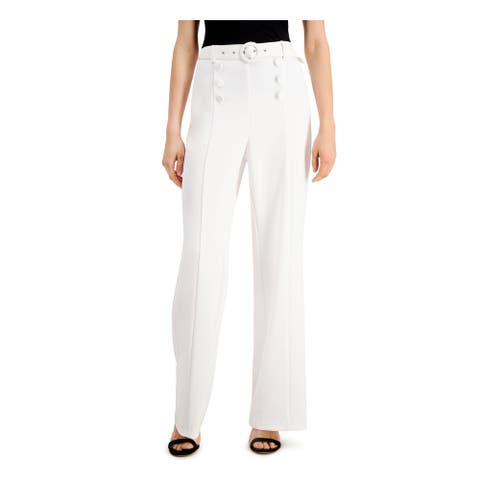 INC Womens White Belted Wide Leg Pants Size 10