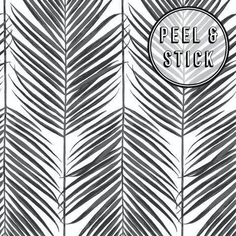 Transform Black Palm Leaves Peel and Stick Wallpaper