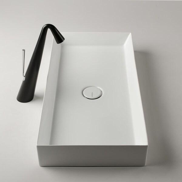 "WS Bath Collections TRACK 70.35 Track 27-3/5"" Ceramic Vessel Bathroom Sink - Gloss White"