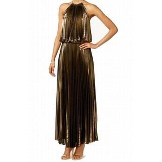 MSK NEW Gold Black Womens Size 14 Metallic Pleated Halter Maxi Dress