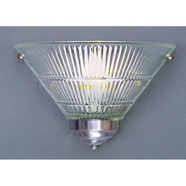 """Volume Lighting V1809 8"""" Height Wall Sconce with 1 Light and Clear Ribbed Glass - Brushed nickel"""