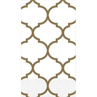 Amscan Gold Lattice Linen-Like Premium Guest Towels - Pack of 96
