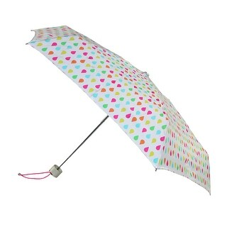 Totes Manual Mini White Rain Print Travel Compact Umbrella - One size
