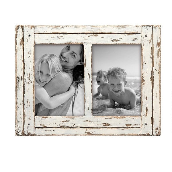 Foreside Home & Garden White 5 x 7 inch Decorative Distressed Wood Picture Frame - Holds Two 5x7 Photos. Opens flyout.
