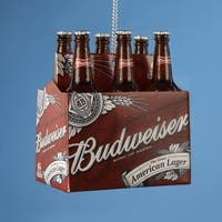 """2.75"""" Happy Hour Budweiser 6-Pack of Bottled Beer Christmas Ornament - RED"""