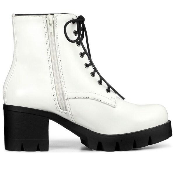 Women's Zipper Platform Chunky Heel