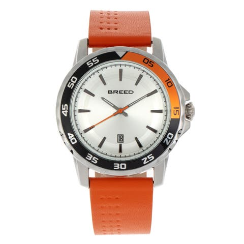 Breed Revolution Leather-Band Watch w/Date - Orange