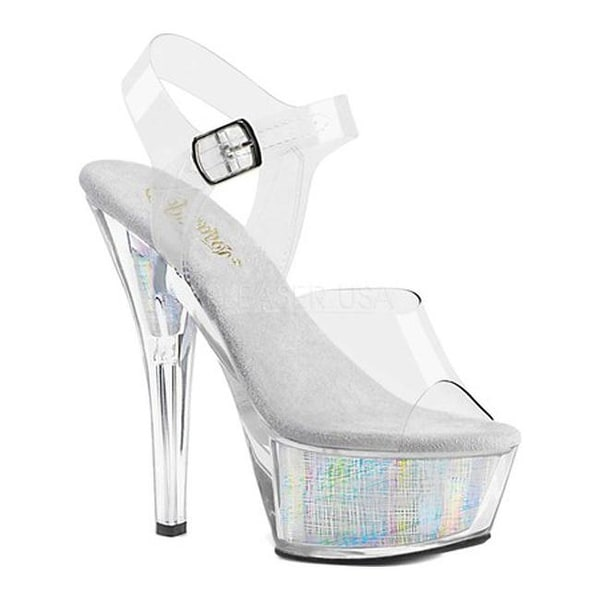 e7c3b6cadb7 Shop Pleaser Women s Flashdance 208CH Heeled Sandal Clear Silver Hologram  Synthetic - Free Shipping Today - Overstock - 24306707