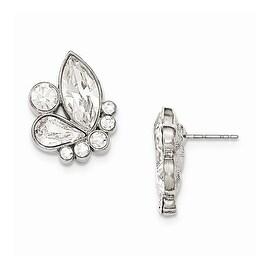 Silvertone White Swarovski Elements Dangle Earrings