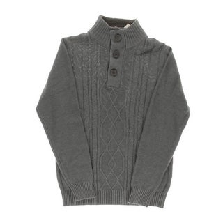 Tricots St. Raphael Mens Cable Knit Heathered Funnel-Neck Sweater