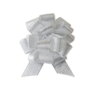 """Pack of 12, Solid Metallic Silver Sparkle Pull Bow 4.5"""" - 18 Loops - Fabric Gift Bow For Christmas, Valentine's Day, & Weddings"""
