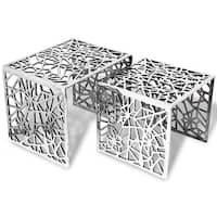 vidaXL Two Piece Side Tables Square Aluminum Silver