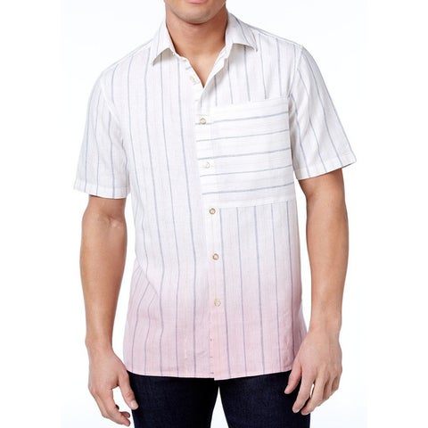 Sean John White Ombre Dye Striped Mens Size 4XL Button Down Shirt