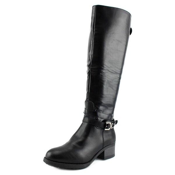 Rampage Imelda Women Round Toe Leather Black Mid Calf Boot