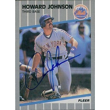 Signed Johnson Howard New York Mets 1989 Fleer Baseball Card Autographed