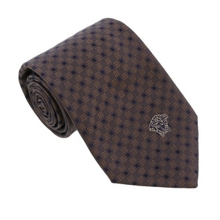 Versace Brown Woven Square Grid Tie