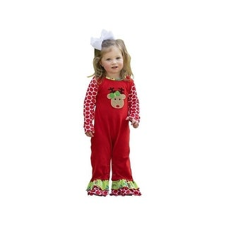 AnnLoren Baby Girls Red Reindeer Polka Dot Print Christmas Romper