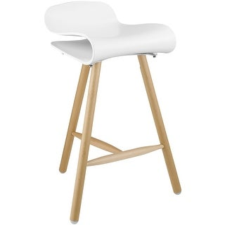 """2xhome White 26.5"""" Modern Style Tri-Leg Backless Barstool With Natural Wood Legs"""