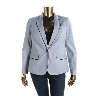 Jones New York Womens Julia Striped Long Sleeves One-Button Blazer