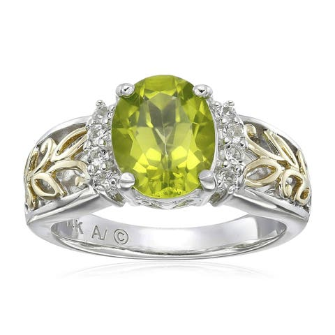 Natural Peridot & White Topaz Ring in Sterling Silver & 14K Gold - Green