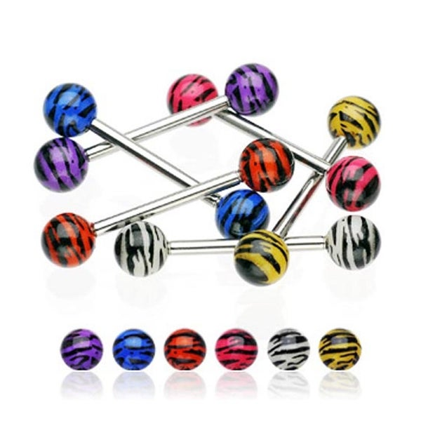 "Surgical Steel Barbell with Tiger Stripe Print UV Balls (Sold Individually) - 14 GA 5/8"" Long"
