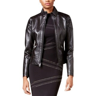 Guess Womens Motorcycle Jacket Faux Leather Textured