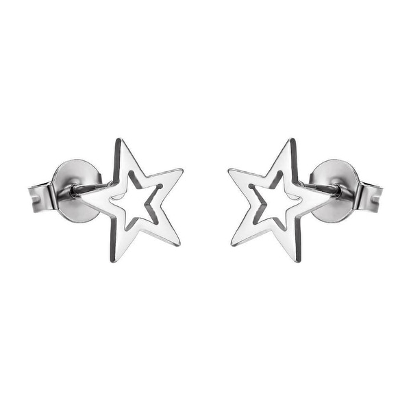 Texas Star Stainless Steel Earrings Studs Silver Tone 10mm