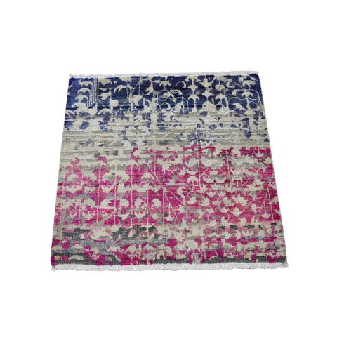 Hand Knotted Pink Modern and Contemporary with Wool & Silk Oriental Rug (2' x 2') - 2' x 2'